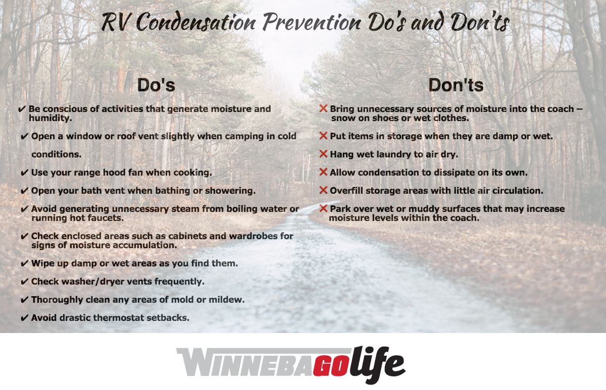 List of Do's and Don'ts for RV Condensation Prevention.