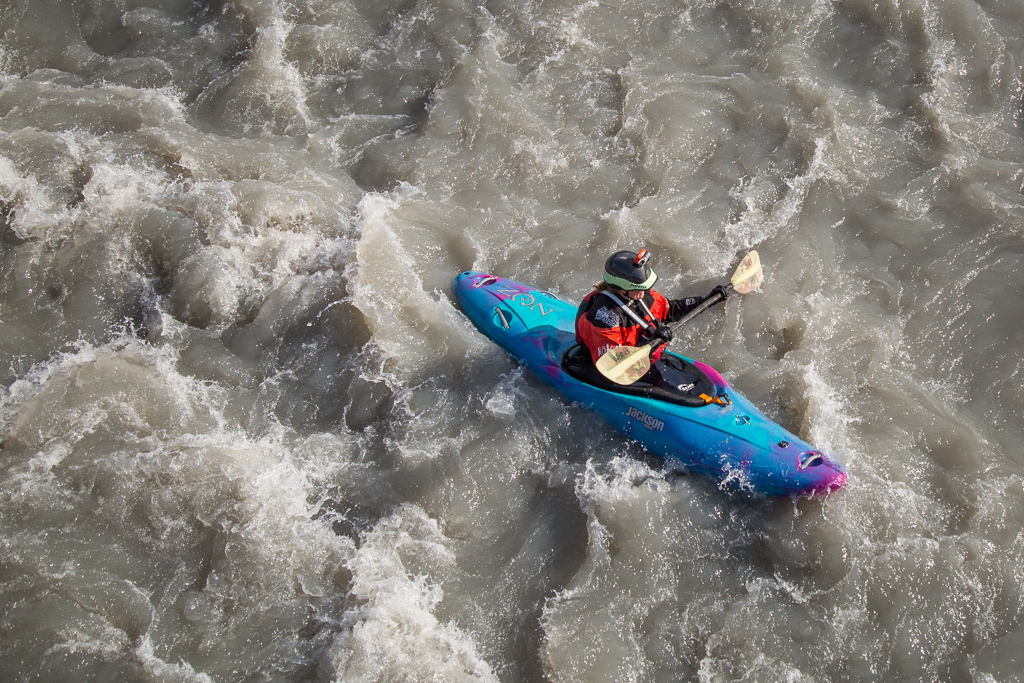 Kayaker in the rougher water.