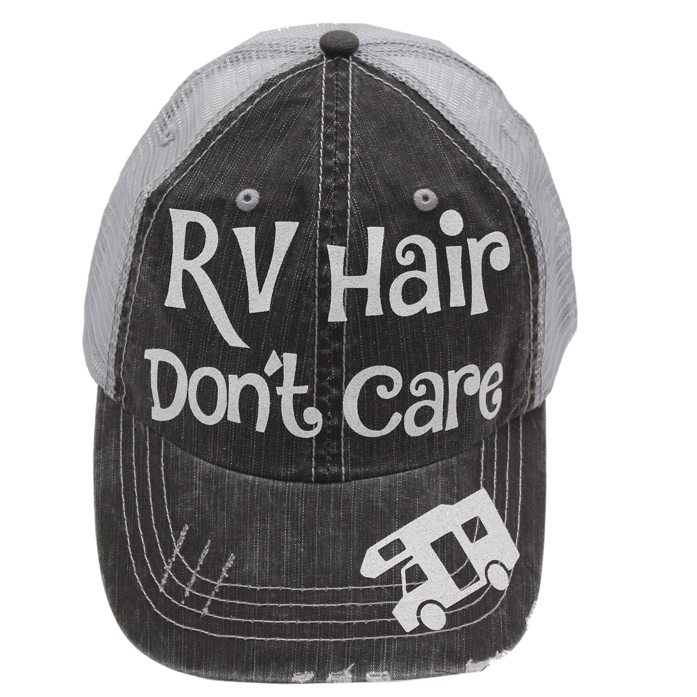 "Baseball cap with ""RV Hair Don't Care"" saying stitched on the front of the cap"