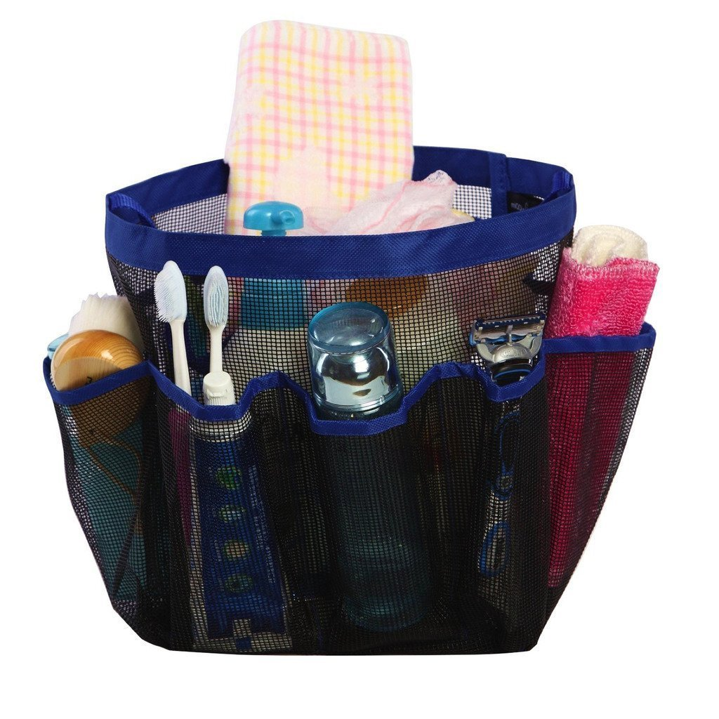 Shower house caddy examply filled with necessary bath supplies