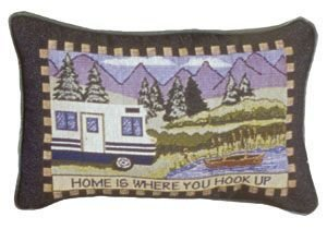 "Decorative Pillow stitched with ""Home is where you hook up"" saying"
