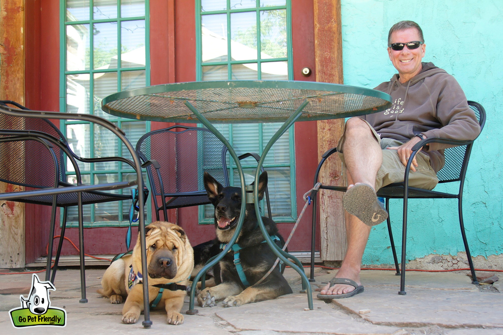 Man sitting at a table with two dogs laying underneath.