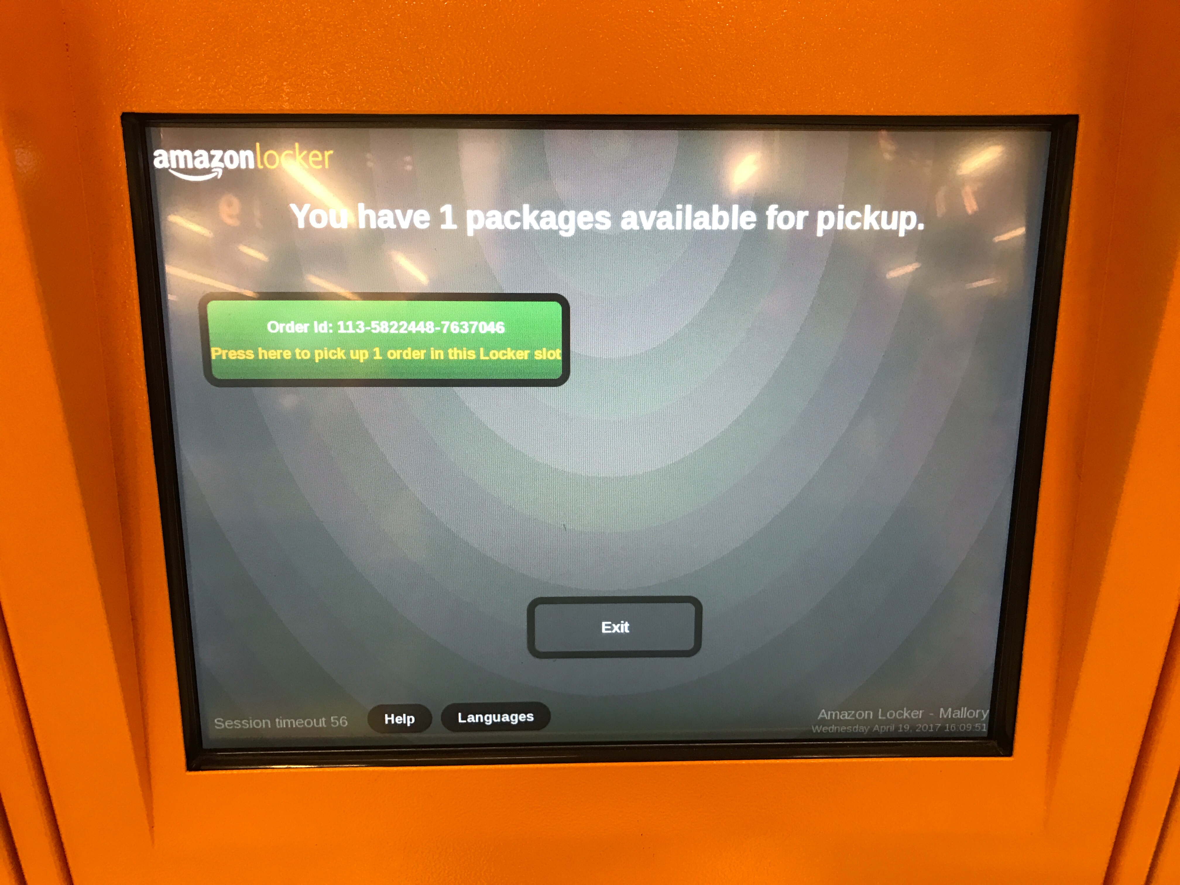 Detail view of Amazon locker kiosk to confirm and pick-up Amazon orders