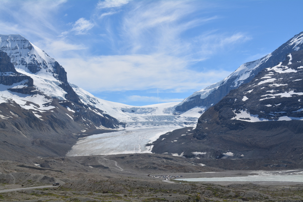 Athabasca Glacier tucked between the mountains.