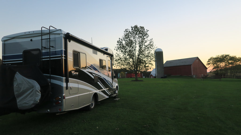 Winnebago View parked on grass at farm