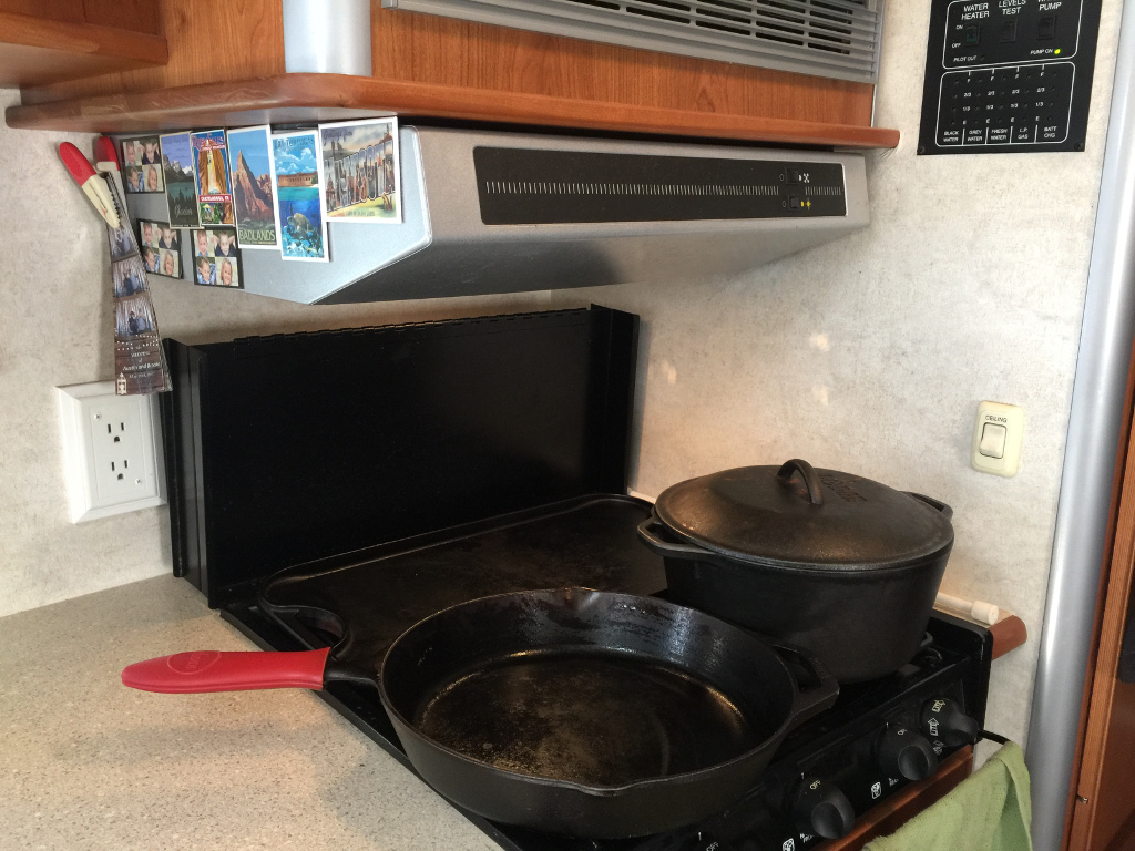 Pot and skillet on stove top