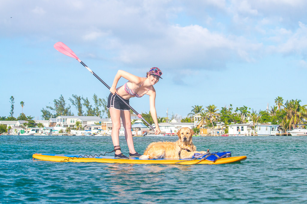 Katharine and their dog on a paddleboard