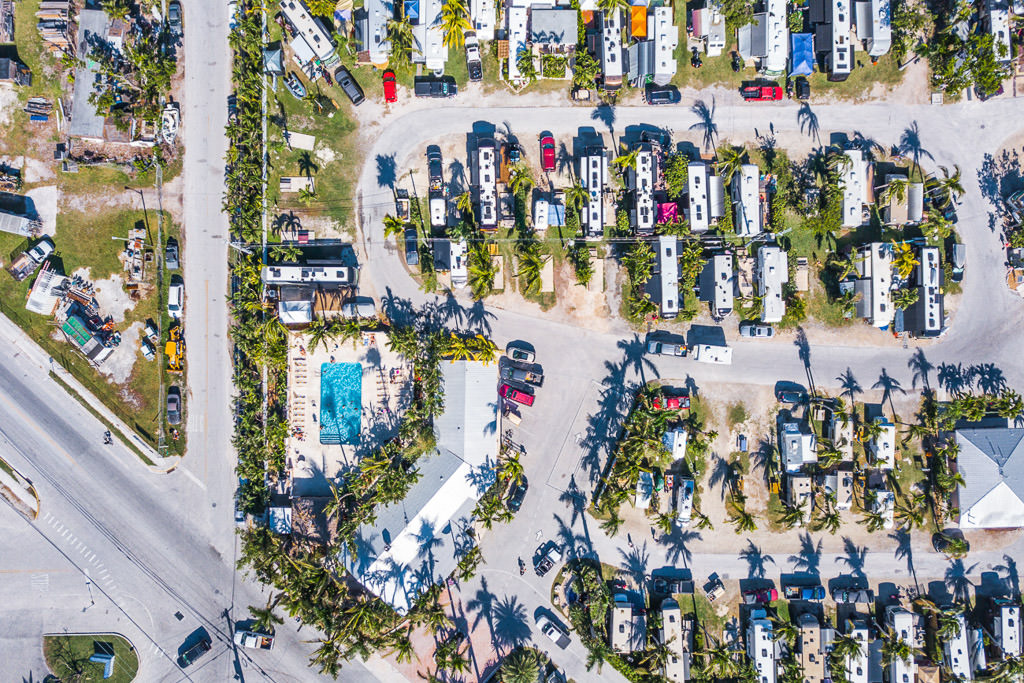 Overhead view of motorhomes parked at Boyds Key West Campground