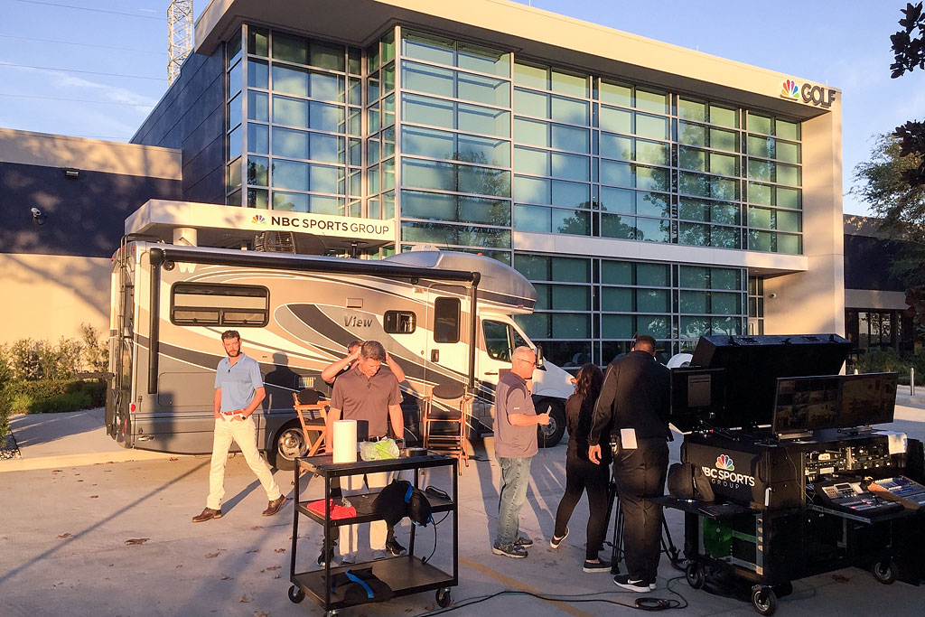 Winnebago View parked out front of the NBC Sports Group Golf building