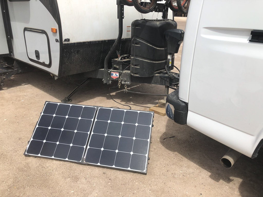 Detail view of portable solar set-up