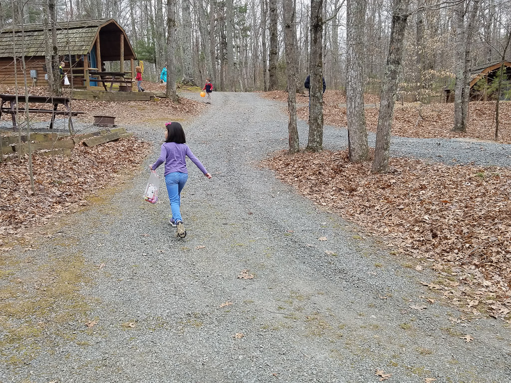 Children on an Easter egg hunt in the campground