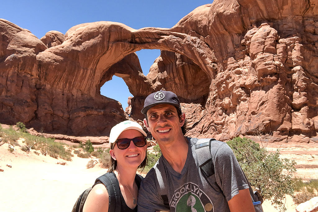 Brittany and Jordan selfie under the Double Arch