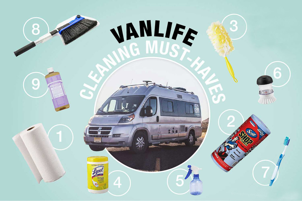 Graphic of Travato with various cleaning supplies around it