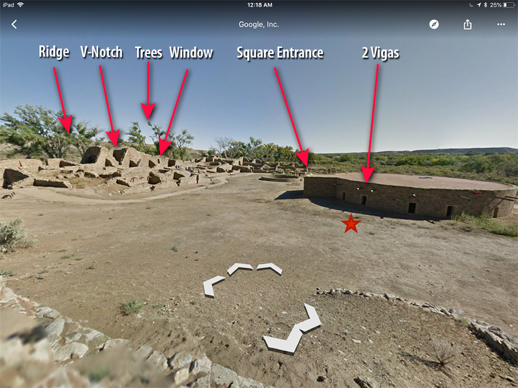 GoogleMaps view of location trying to be found with arrows and text pointing out similarities to the old photo.