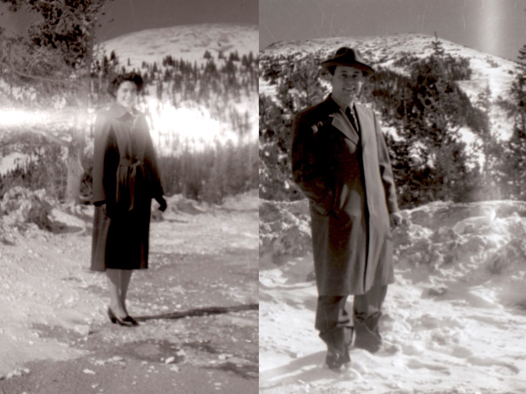 Old photos of Don's parents in formal dress with tree and snow covered hillsides in the background.