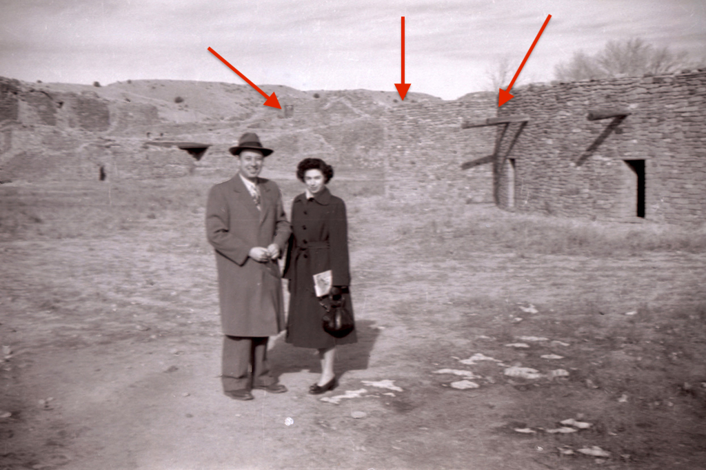 First photo of Don's parents standing in front of building ruins this time with arrows pointing to identifying structures.