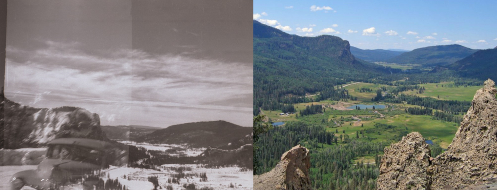 Side by side old photo of Wolf Creek Pass next to recent photo.