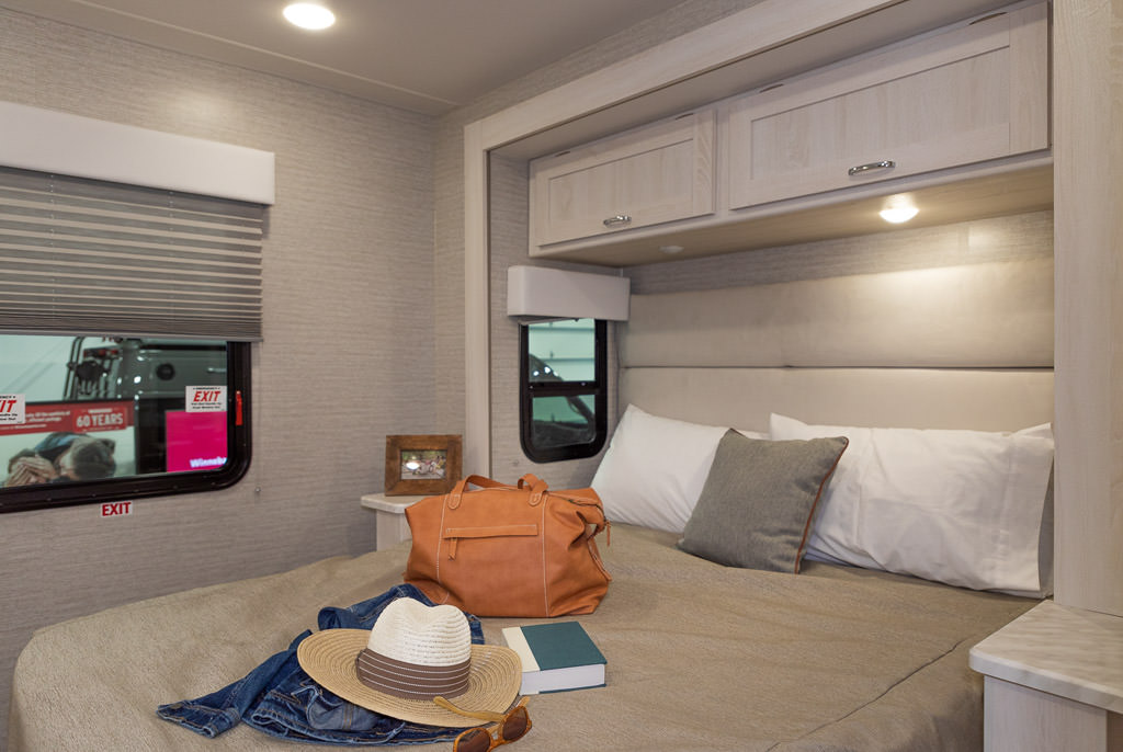 Contemporary interior back bedroom of the Winnebago Intent.
