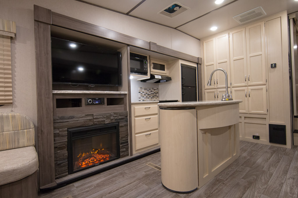 Kitchen area of the Winnebago Minnie Plus Fifth Wheel.