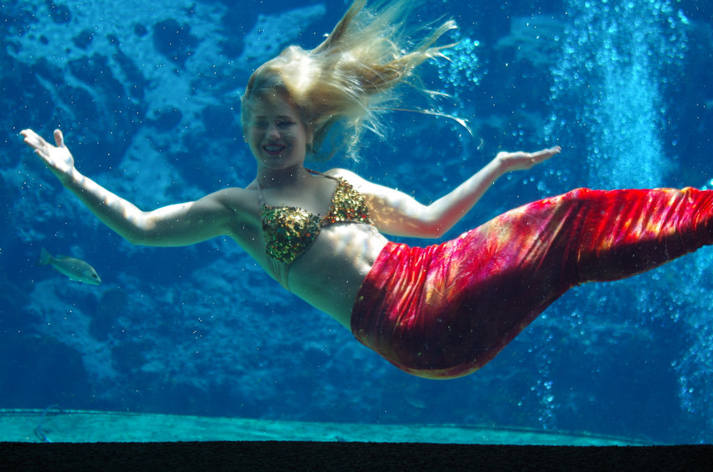 Woman dressed as a mermaid underneath the water.
