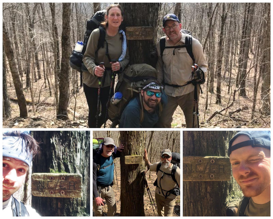 Warrior Expeditions participants hiking the Appalachian Trail