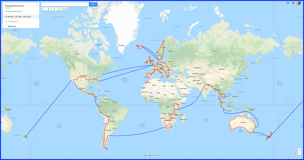 Map of the world with routes traced accross.