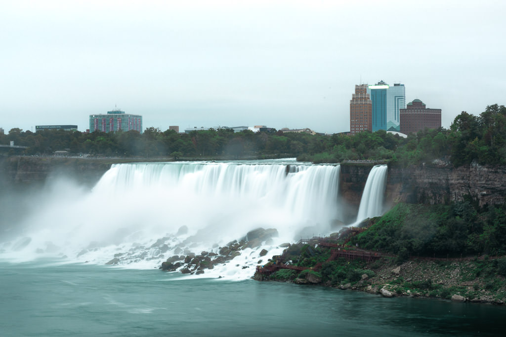 View of Niagra Falls from the US side.