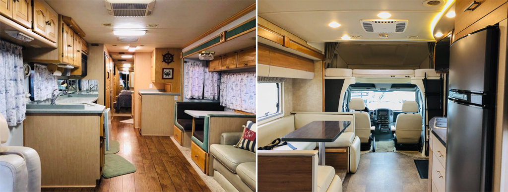 Winnebago view interior compared to the Tiffin Phaeton interior.