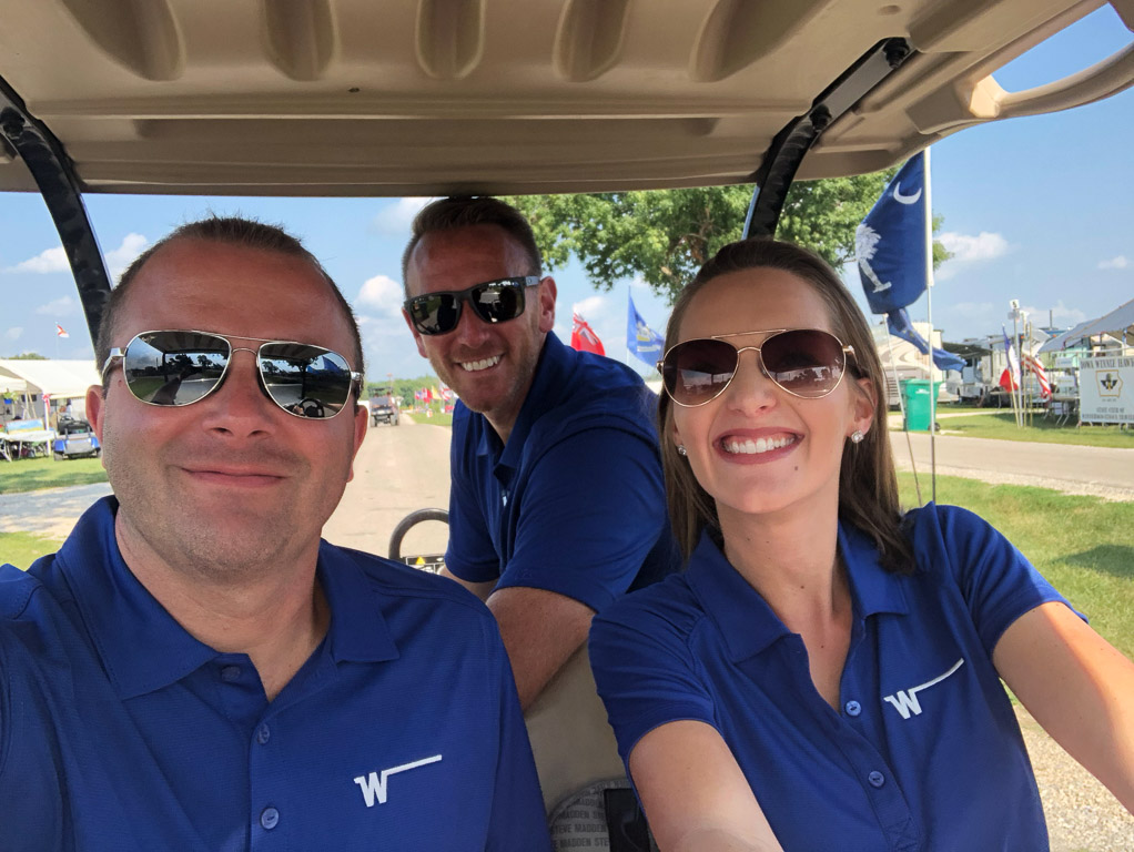 Winnebago employees in golf cart at GNR
