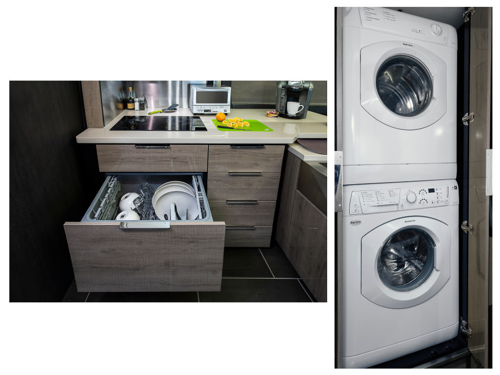First photo: Horizon dishwasher pulled out full of dished. Second photo: stacked white washer and dryer
